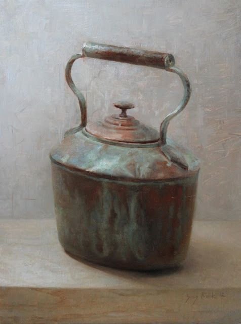 "Zoey Frank. Copper pot, oil on panel, 12 x 16"""