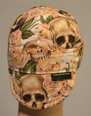 welding hats or caps yellow skulls n roses 6 panel reversible