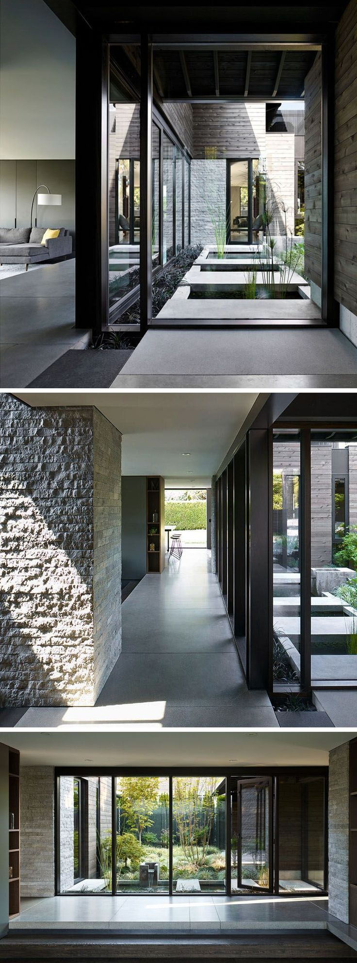 Stepping inside this renovated house, what was once a wall with three slim vertical windows, is now a large open window that provides views of the courtyard from inside the home. Around the corner and hidden in plain sight is a glass door that allows access to the courtyard. #Renovation #Windows #ModernHouse #Courtyard