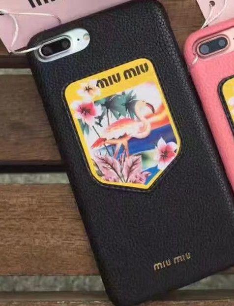ブランド iphone8/7sPlus/6s ケースmiumiu白い斑点の鹿シカ盾バッジ徽章鳥フラミンゴ ベニヅル 金属メタルlogo革製7/7plusアイフォン6splus携帯カバー即納