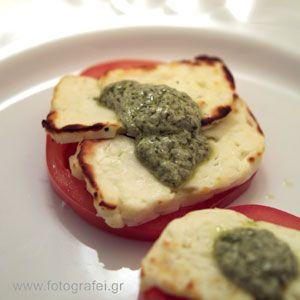 Chaloumi cheese with pesto  http://www.eliasmamalakis.gr