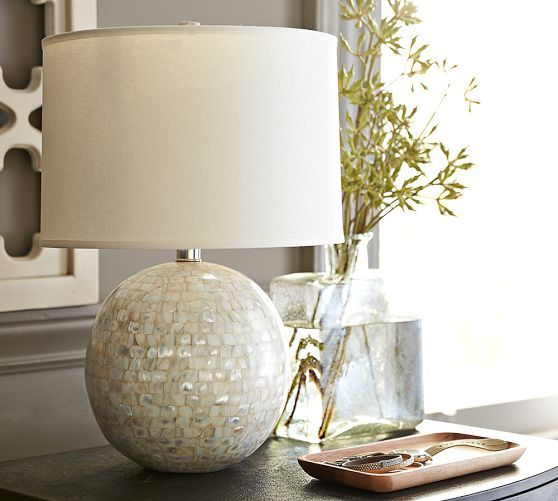 Pottery Barn Atrium Lamp: Jolie Mother-of-Pearl Round Lamp Base