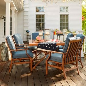 The Vintage Inspired Catalina Dining Set With Blue Cushions   Buy Online @ Osh. Orchard SupplyOutdoor Dining TablesPatio ...