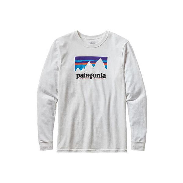 Men's Patagonia Long-Sleeved Shop Sticker Cotton T-Shirt ($45) ❤ liked on Polyvore featuring men's fashion, men's clothing, men's shirts, men's t-shirts, white, mens white shirts, mens longsleeve shirts, mens white long sleeve t shirt, mens french cuff shirts and mens white t shirts
