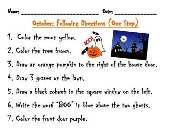 following directions activity haunted house - Halloween Following Directions