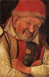 Titolo:Ritratto del buffone Gonnella AutoreJean Fouquet Data1447-1450 TecnicaDipinto su tavola Dimensioni36 cm × 24 cm  UbicazioneKunsthistorisches Museum, Vienna