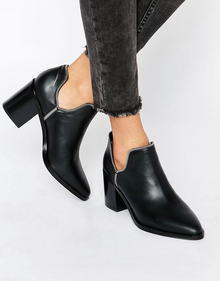 Image 1 of Senso Huntley I Black Leather Cut Out Zip Ankle Boots