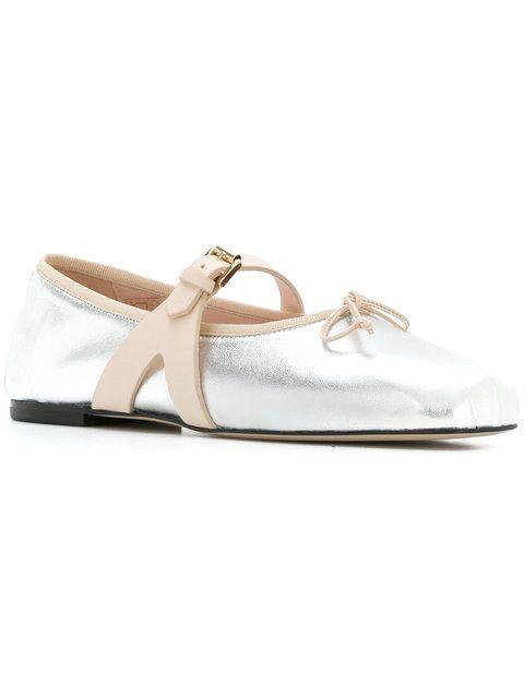 Giambattista Valli Metallic  Buckle Ballerina Schuhes  Metallic  Schuhes ... ff56c9