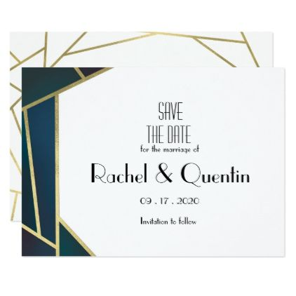 #Glam Gold Geometric Art Deco Wedding Save The Date Card - #savethedate #wedding #love #card #cards #invite #invitation