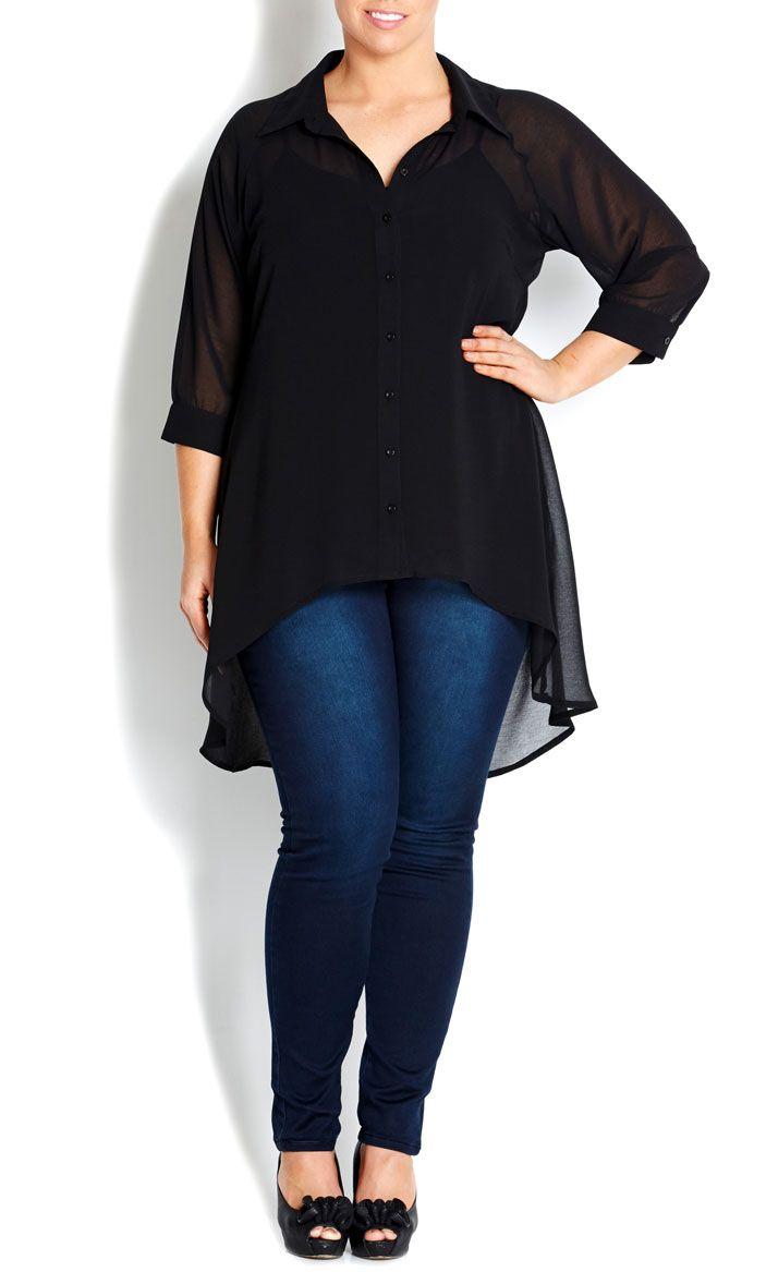 Bräutigam vintage-stil black hi lo shirt  womenus plus size fashion  high low shirts