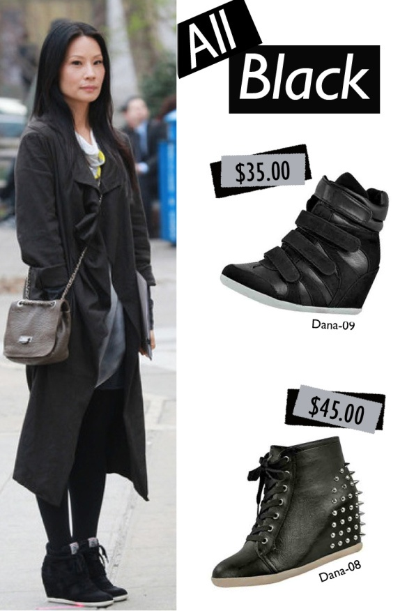 Traffic shoe wedge sneakers inspired look.