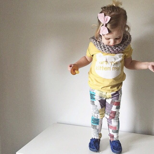 brikHOUSE Colour Block Leggings. Perfect baby shower gift. Organic cotton and modern shapes make this a must have this season.
