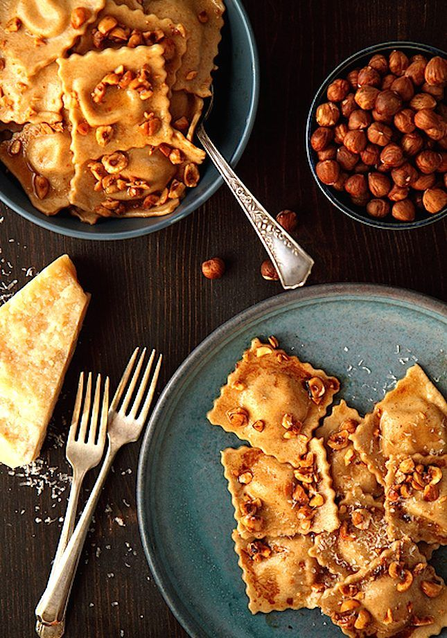Image result for Pumpkin and amaretti ravioli with sage beurre noisette