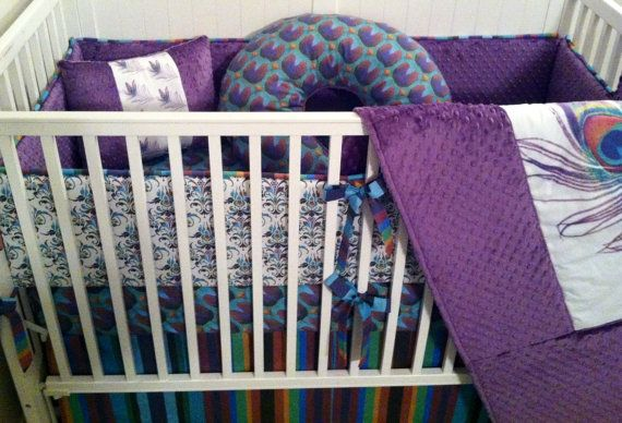 Custom Peacock Designer Made to Order Crib by butterbeansboutique, $499.00