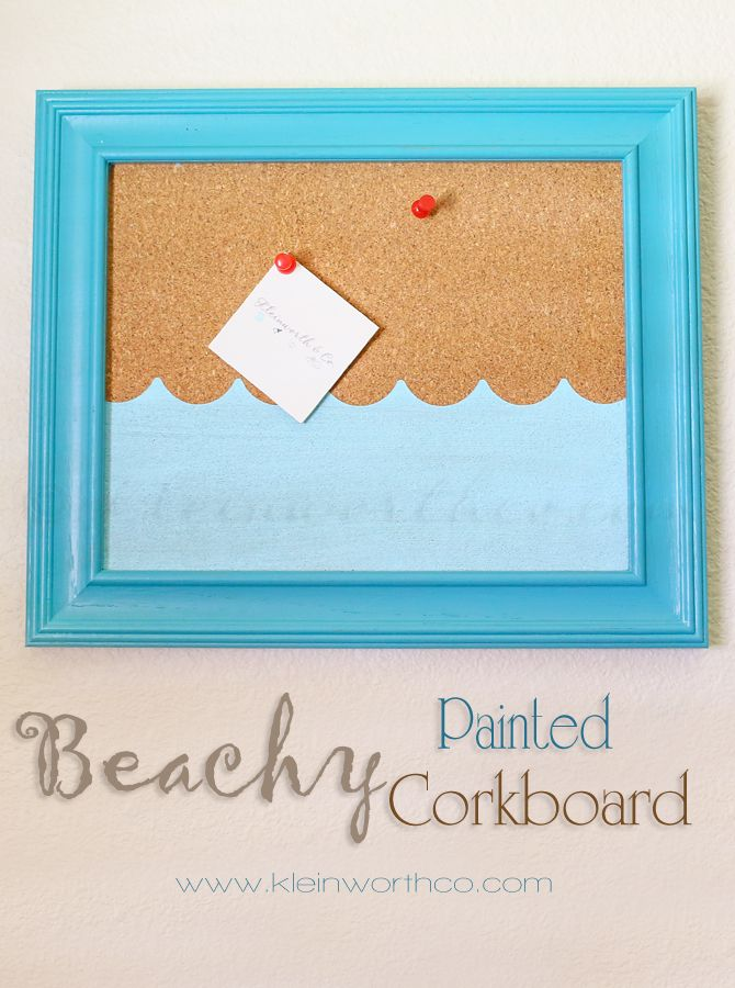 Beachy Painted Corkboard. OMGosh, I have to make this...