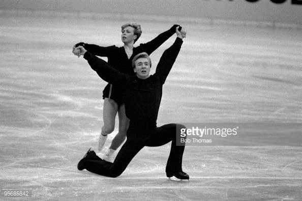 Jayne Torvill and Christopher Dean of Great Britain at a practice session of their Bolero ice dance routine during the European Figure Skating Championships held in Budapest, Hungary during January 1984.