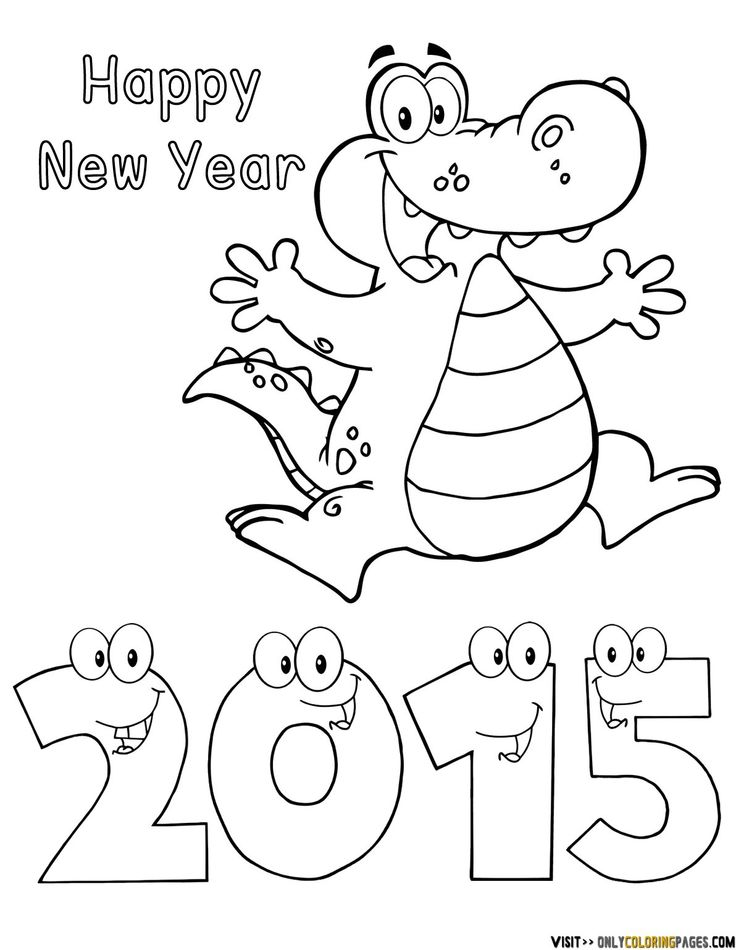 Coloring Guru Happy New Year 2015 Alligator Worksheets Third Grade