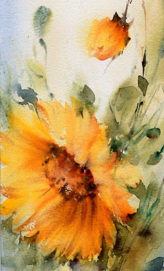 Original Signed Watercolor Flowers by LuxeArtistique