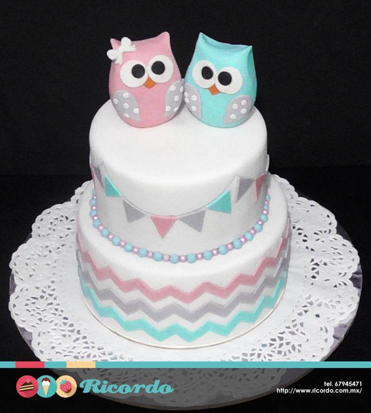 ¿Gemelos?  Disfruten de su baby shower acompañados de un delicioso RICORDO  #pastel #fondant #fondantcake #baby #twins #bebes #gemelos #babyshow