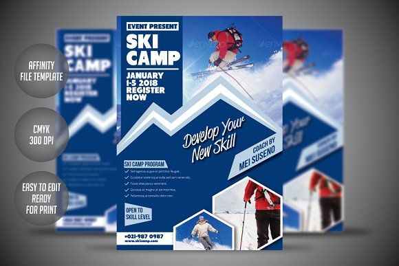 Ski Camp Flyer Template By Meisuseno On Creativemarket