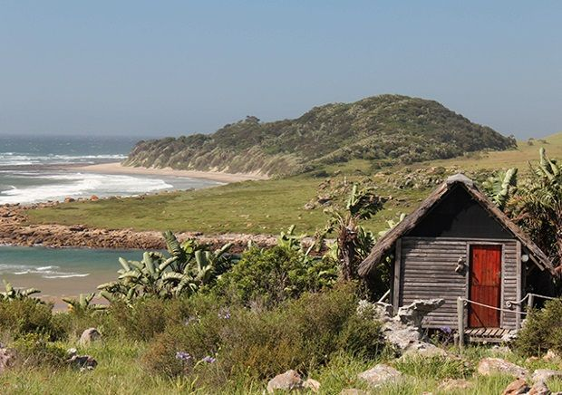 Mtentu Lodge, Wild Coast - South Africa.   This delightfully rustic lodge in Pondoland offers a truly memorable Wild Coast experience. There are a variety of accommodation options, including 4-sleeper wooden cabins, dorm rooms and catered as well as self-catered.  Cell phone signal: 300m away from the lodge on 'signal hill'  Electricity: Only solar power. There is a communal charging facility for phones  Internet: Nope