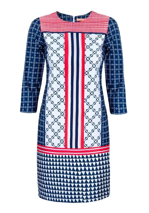 Vilagallo Class Multi Print Cropped Sleeve Tunic Dress, Navy Multi | McElhinneys Department Store