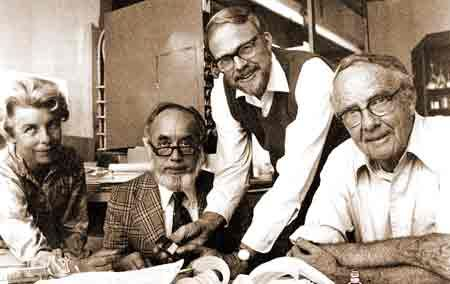 This photo shows from left Helen Michel, Frank Asaro, Walter Alvarez and Luis Alvarez, co-authors of a seminal paper in 1980 on what killed the dinosaurs.