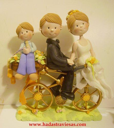novios en bicicleta | Novios personalizados para pasteles de… | Flickr