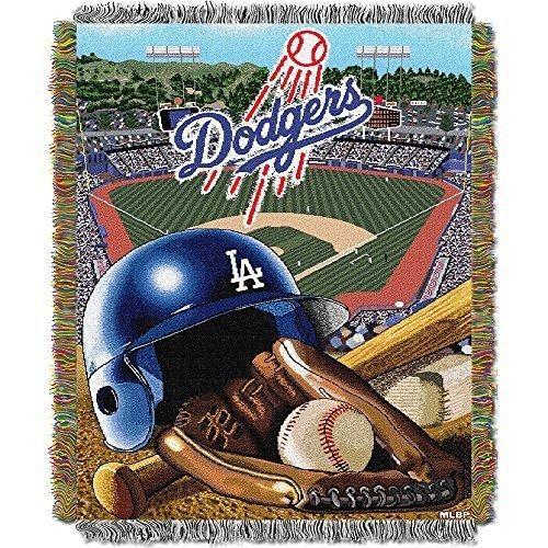 48 X 60 MLB Dodgers Throw Blanket Baseball Themed Bedding Sports Patterned Team Logo Fan Merchandise Athletic Team Spirit Fan Ballpark Woven Tapestry Warm Soft Blue Grey Polyester