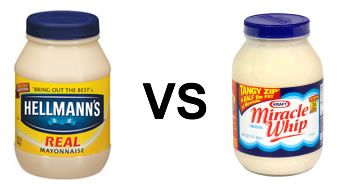 The main difference between Miracle Whip and mayonnaise are the sweeteners: high-fructose corn syrup and sugar are the fourth and fifth ingredients, respectively, of Miracle Whip. So who said miracle whip was healthier again?