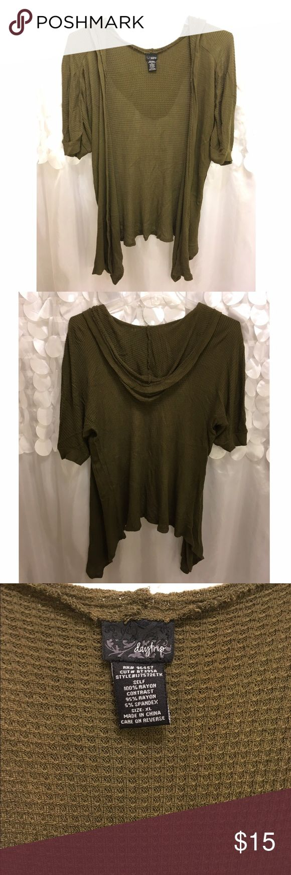 Buckle Olive Green cardigan Daytrip brand. Purchased at Buckle (BKE). Waffle knit short sleeve cardigan. Hangs down lower in front. Color closer to second pic. Daytrip Tops