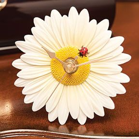 """New Flower Time Clocks!! Beautiful flower blooms transformed into decorative timepieces. Our clocks are beautifully gift boxed and will stand or hang. Approximately 4"""" in diameter. Uses one AA battery"""