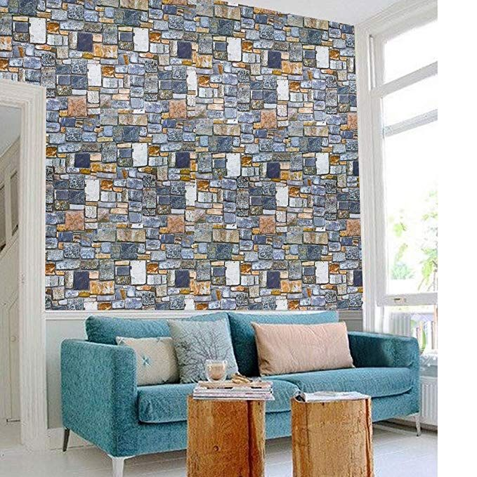 3d Effect Stone Paper Peel And Stick Wallpaper Decorative Self Adhesive Film 17 71x393 7 In Living Room Decals Wall Stickers Home Decor Living Room Background