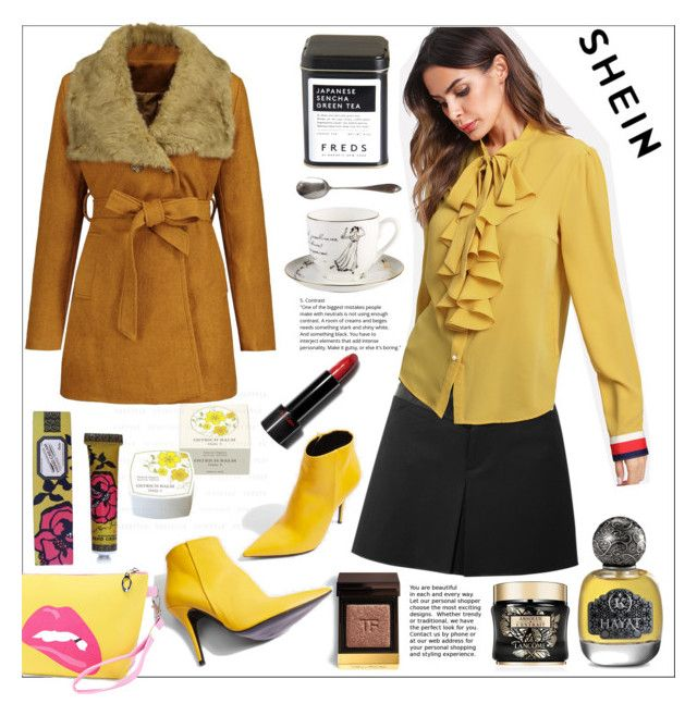 """""""Shein.Flounce Front Striped Cuff Blouse"""" by natalyapril1976 ❤ liked on Polyvore featuring Helmut Lang, Tom Ford, Topshop, Soap & Paper Factory, Lancôme and FREDS at Barneys New York"""
