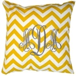 monogrammed chevron pillowChevron Monogram, Gray Room, Monogram Pillows, Chevron Throw Pillows, Chevron Pillows, Chevron Pattern, Monograms Pillows, Yellow Chevron, Chevron Stripes