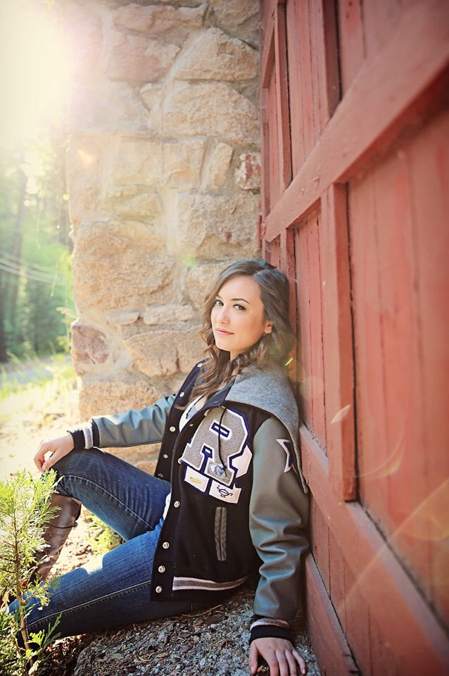 Senior photos, letterman jacket, graduation