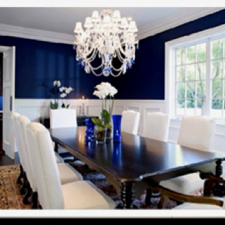 Navy blue dining room  preppy and gorg love the contrast with dark white 107 best images on Pinterest Crystals Dining area