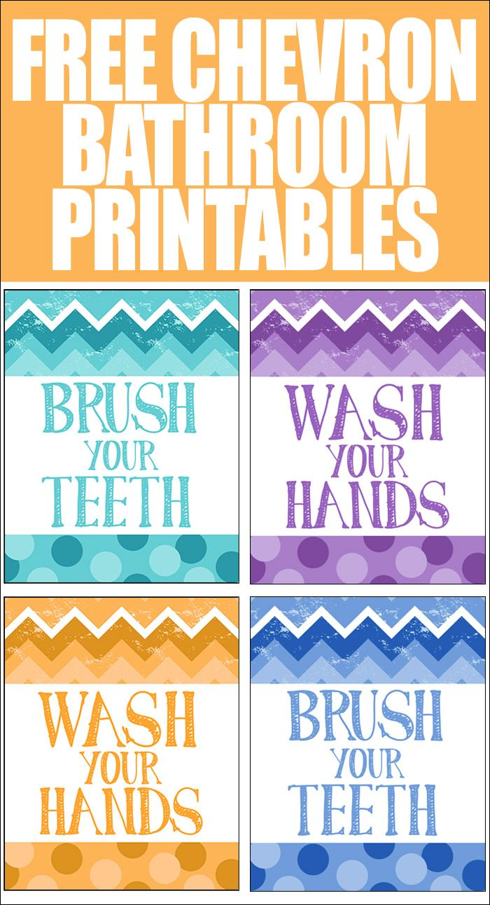 FREE CHEVRON BATHROOM PRINTABLES. Different color designs to choose from! Just print at home and put in 8x10 inch frames!