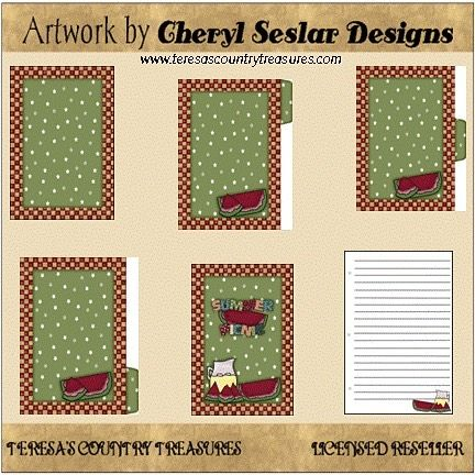 Everyone Loves a Picnic Recipe Book Printable from Cheryl Seslar Designs includes country primitive recipe book with watermellon lemonade and includes front and back cover recipe card and three dividers.  Click profile link to