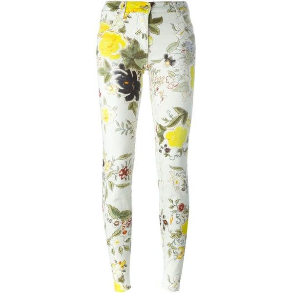 Etro skinny floral print jeans ($545) ❤ liked on Polyvore featuring jeans, pants, bottoms, pantaloni, pants floral, multicolour, skinny leg jeans, white super skinny jeans, colorful jeans and white jeans