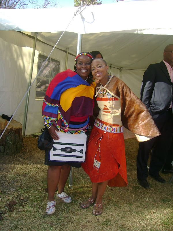 Southern Africa- Ndebele clothing on the left and Basotho clothing on the right