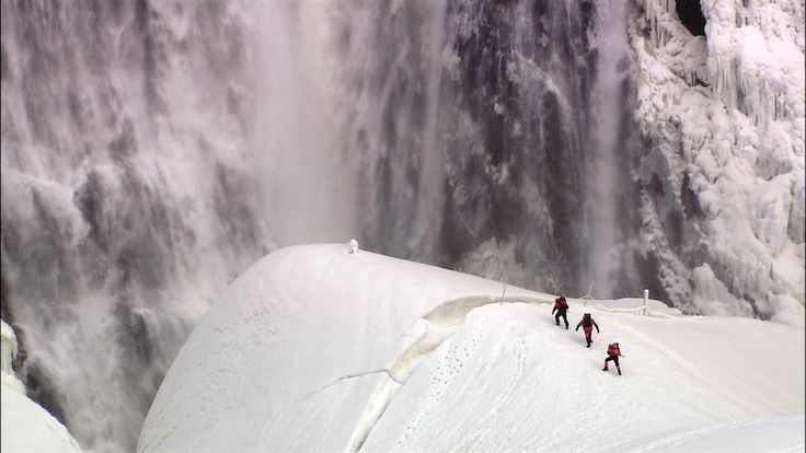 "The ""sugarloaf"" which forms from the frozen spray in winter at Montmorency Falls, just outside Quebec City."