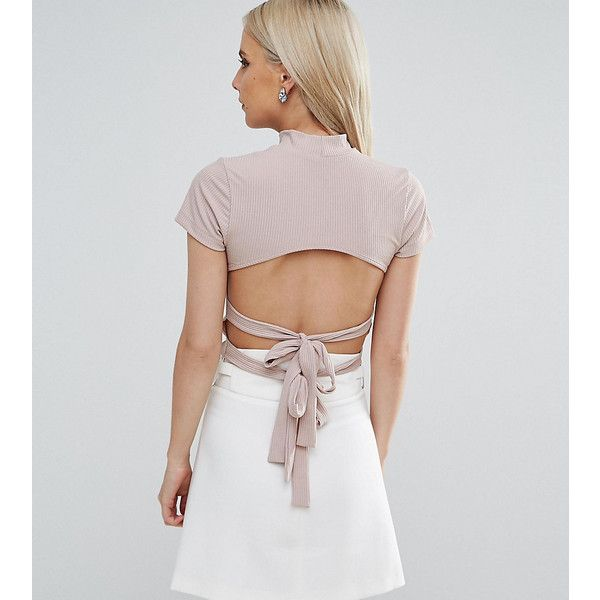 ASOS PETITE Top in Rib With Cap Sleeve and Double Bow Back Detail (32 AUD) ❤ liked on Polyvore featuring tops, brown, petite, open back tops, asos, short crop tops, ribbed crop top and high neck crop top