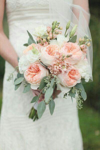 Pretty Peach English Garden Roses, Peach Stock, White Florals, Green Seeded Eucalyptus Make A Lovely Wedding Bouquet