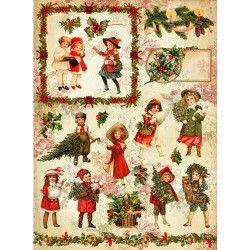 рождественская прогулка рисовая бумага