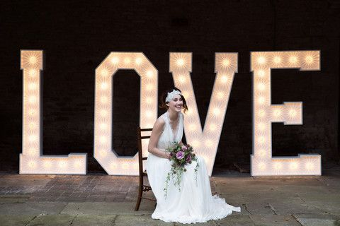 BIG LOVE lit letters for hire. Giant light up letters for weddings, – Typical Type