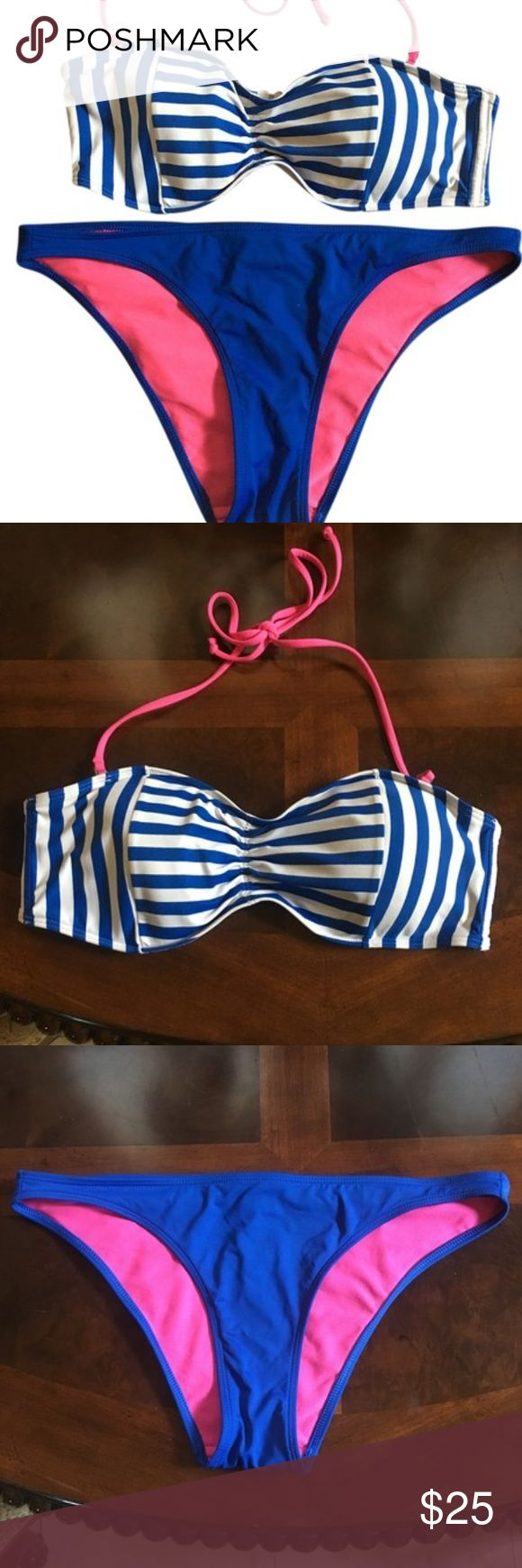 Abercrombie and Fitch Bikini Swimsuit Sexy, cute striped bikini top and bottom from A&F. Cheeky fit on the bottoms, perfect for a beach trip or hanging out at the pool. Abercrombie & Fitch Swim Bikinis