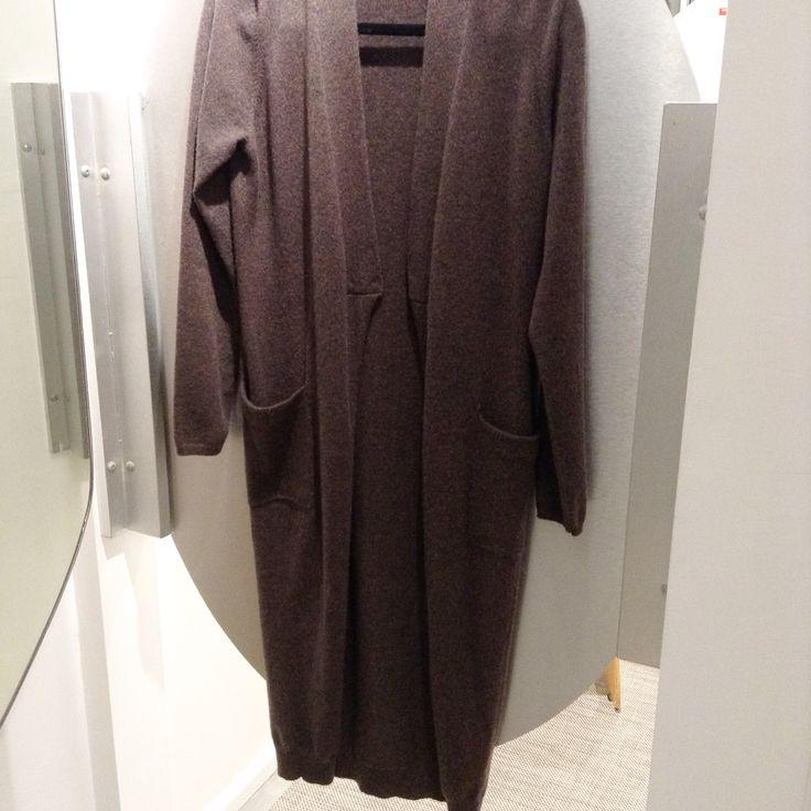 Brunello Cucinelli brown cashmere long cardigan with pockets. Pls call (949)715-0004 for inquiries.
