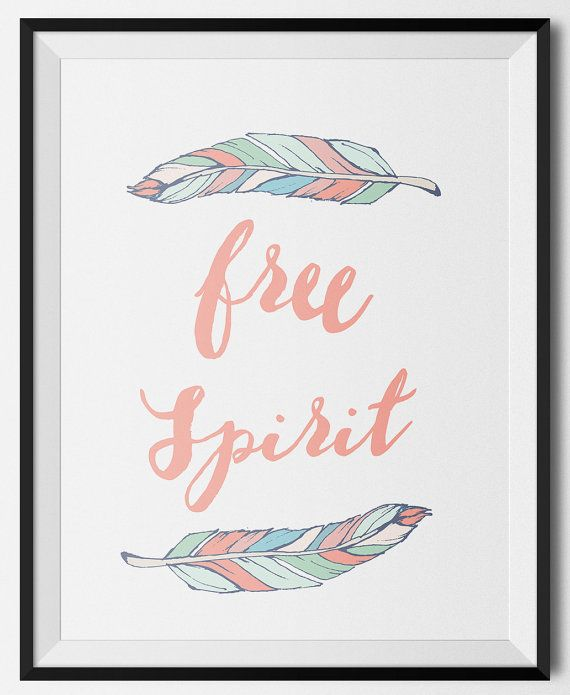 Free Spirit art print in coral or teal. Great decor for boho nursery