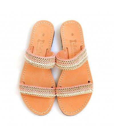 Capri coral handmade greek leather sandal